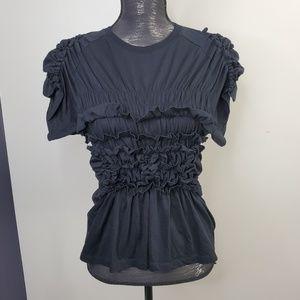 Simone Rocha Black Ruffle Front Short Sleeve Top